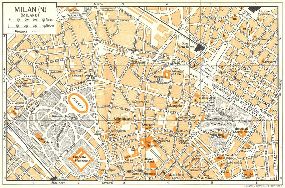 Details about MILAN, N town/city plan. Milano. Italy 1960 old vintage map  chart