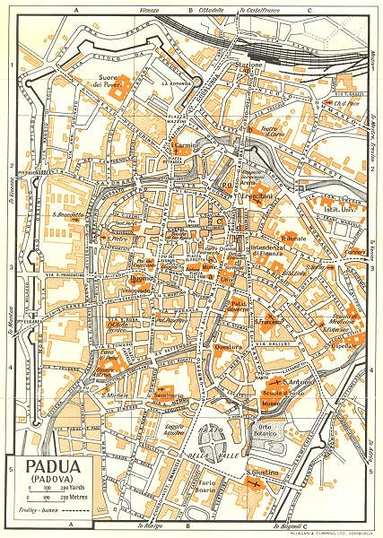 Associate Product PADUA town/city plan. Italy 1960 old vintage map chart
