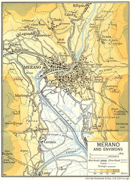 Associate Product Merano and Environs   1960 old vintage map plan chart