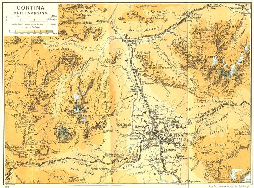 Associate Product Cortina and Environs. Dolomites 1960 old vintage map plan chart