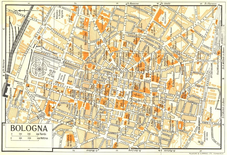 Bologna On Map Of Italy.Details About Bologna Town City Plan Italy 1960 Old Vintage Map Chart