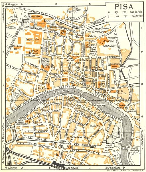 Associate Product PISA town/city plan. Italy 1960 old vintage map chart
