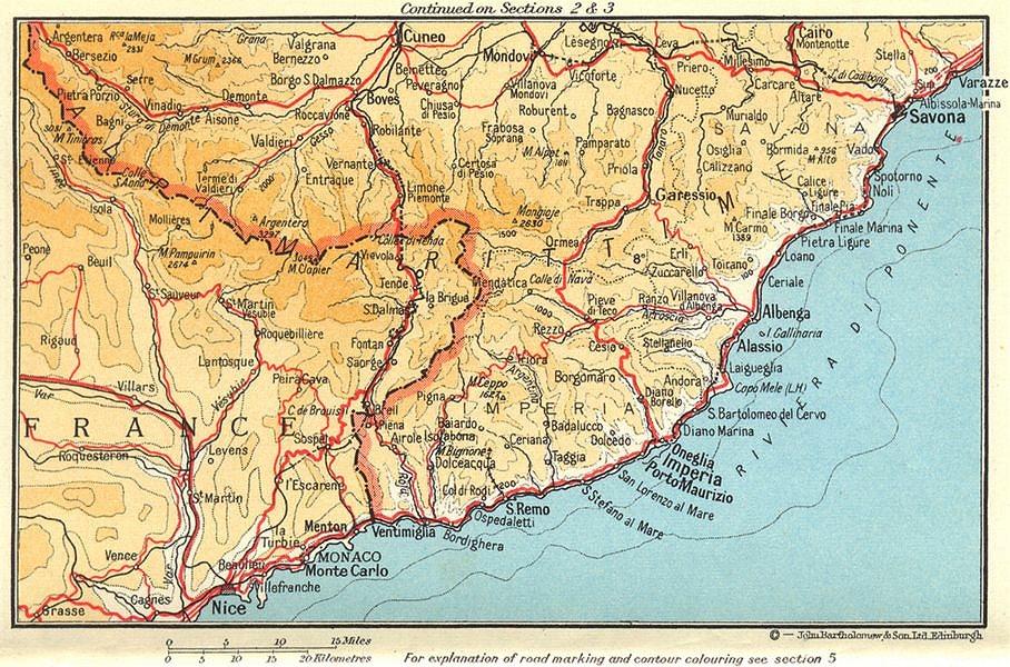 Associate Product Riviera di Ponente. Côte d'Azur. Nice-Monaco-Savona 1960 old vintage map chart