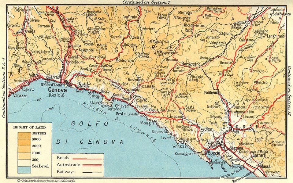 Associate Product Riviera di Levante. Genova/Genoa-La Spezia 1960 old vintage map plan chart
