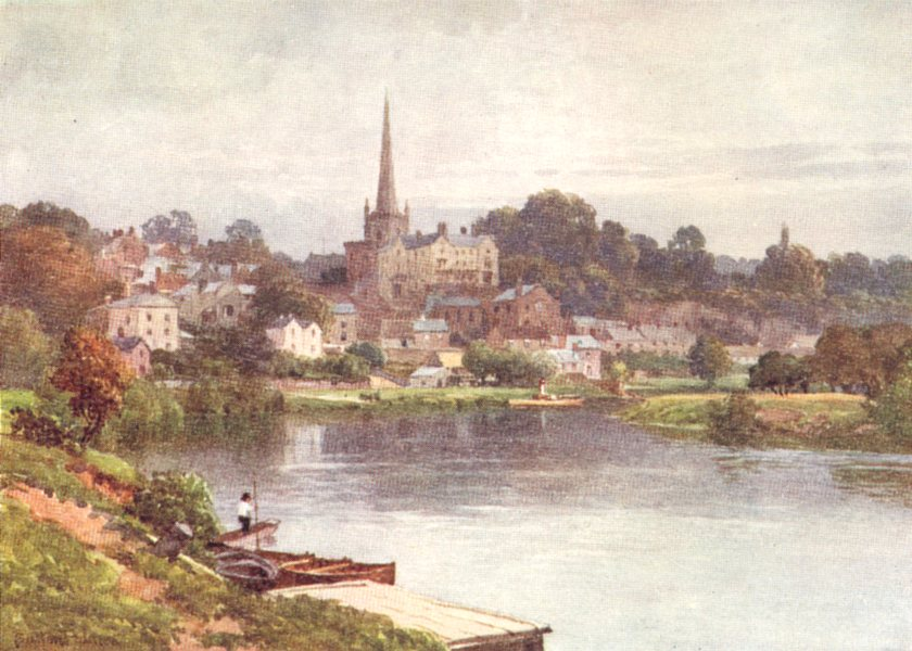 HEREFORDSHIRE. The Wye, Ross, Herefordshire 1908 old antique print picture