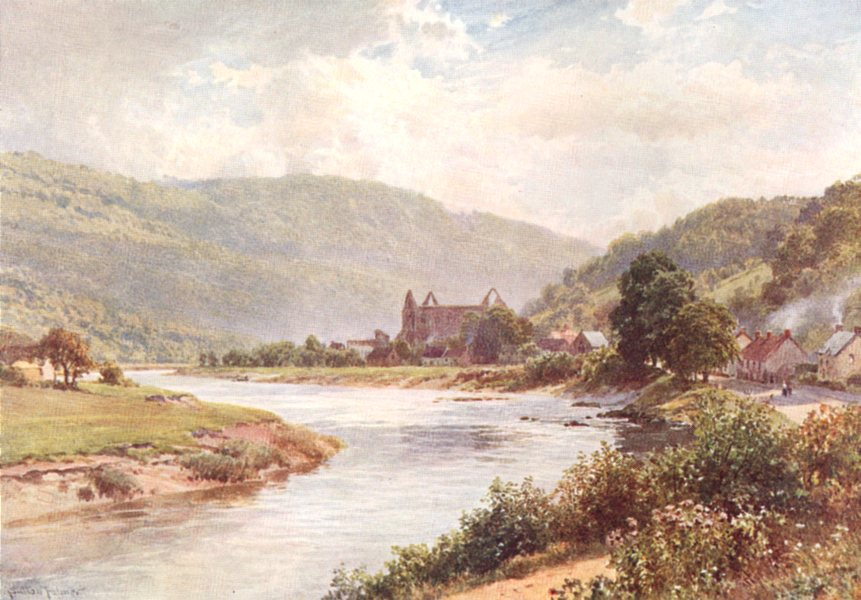 Associate Product WALES. The Wye, Tintern, Monmouthshire 1908 old antique vintage print picture