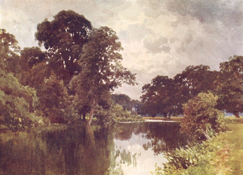 Associate Product OXFORDSHIRE. The Thames, Backwater by the Islands, Henley 1908 old print