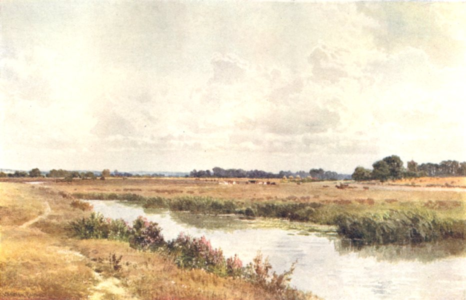Associate Product SUSSEX. The Ouse, near Lewes, Sussex 1908 old antique vintage print picture
