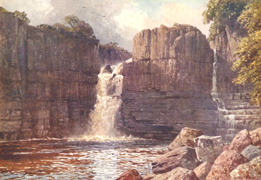 Associate Product DURHAM. High Force, Tees 1908 old antique vintage print picture