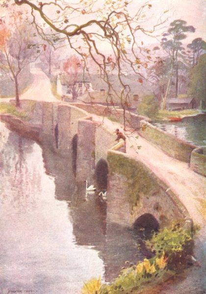 Associate Product CUMBRIA. Lake district. A Misty morning, Newby bridge, Windermere 1908 print
