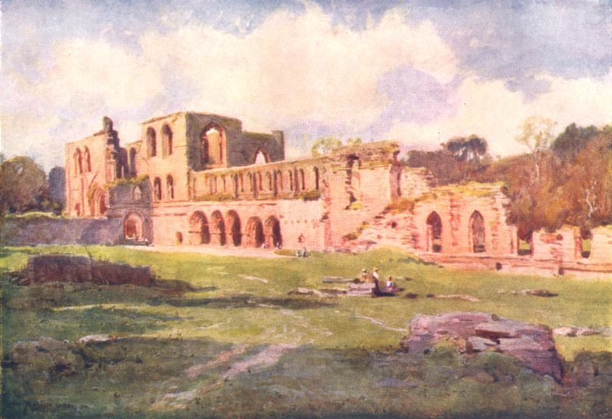 Associate Product CUMBRIA. Lake district. Furness Abbey in the Vale of Nightshade 1908 old print