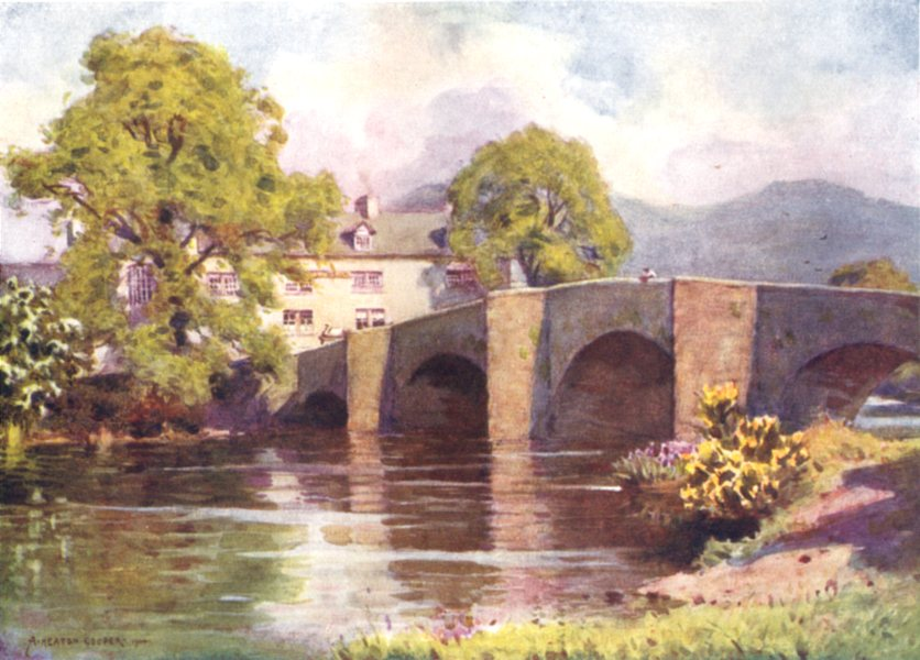 Associate Product CUMBRIA. Lake district. Swan Inn, Newby Bridge, Windermere 1908 old print