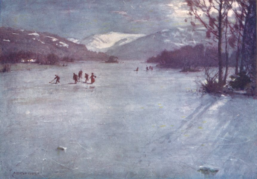 CUMBRIA. Lake district. Near the Ferry, Windermere. Skating by Moonlight 1908