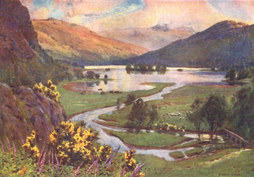 Associate Product CUMBRIA. Lake district. Sunset, Rydal water 1908 old antique print picture