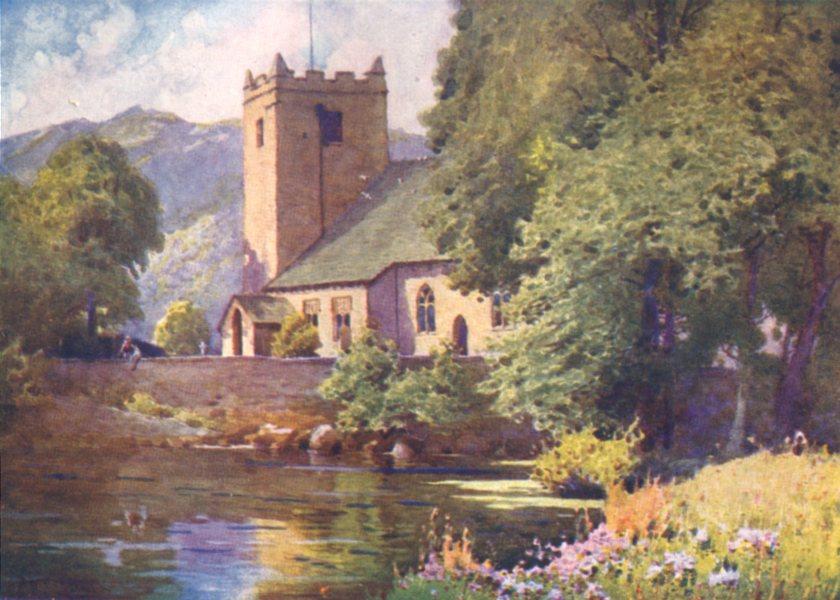 Associate Product CUMBRIA. Lake district. Grasmere Church 1908 old antique vintage print picture