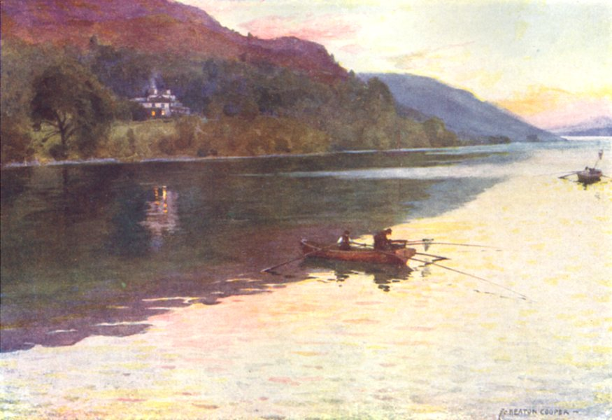 Associate Product CUMBRIA. Lake district. Brantwood, Coniston lake. Char-fishing 1908 old print