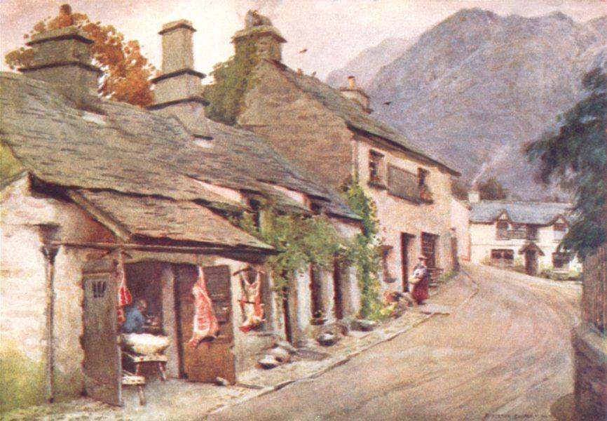 Associate Product CUMBRIA. Lake district. Coniston village. The old Butcher's shop 1908 print