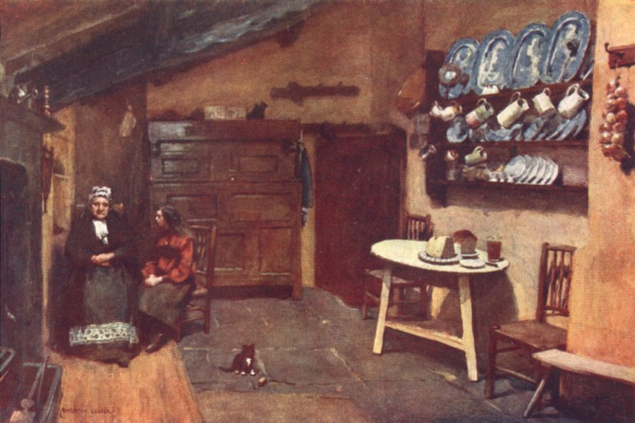 Associate Product CUMBRIA. Lake district. An Old Inn kitchen, Coniston 1908 antique print