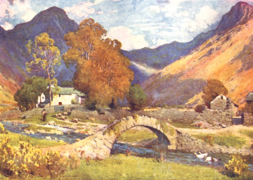 Associate Product CUMBRIA. Lake district. Wastdalehead & Great Gable . Evening in autumn 1908