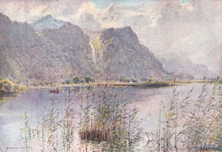Associate Product CUMBRIA. Lake district. Lodore and Derwent Water a summer's morn 1908 print