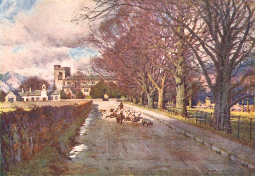 Associate Product CUMBRIA. Lake district. Crosthwaite Church, Keswick 1908 old antique print