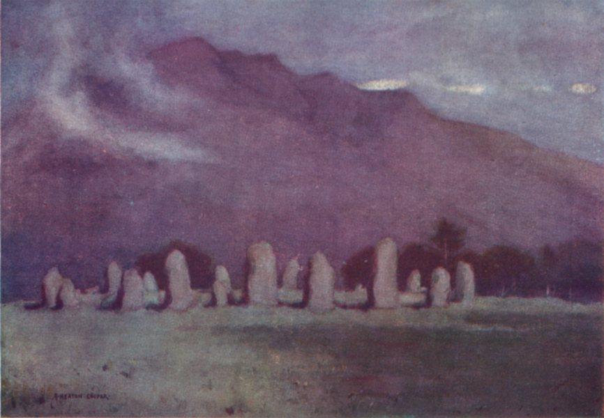 Associate Product CUMBRIA. Lake district. Druid Circle, near Keswick moonlight 1908 old print