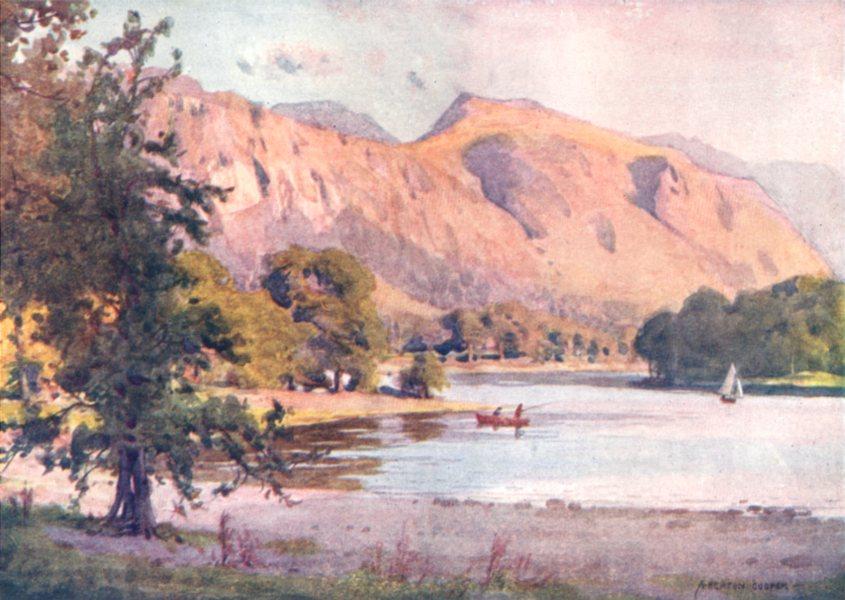 Associate Product CUMBRIA. Lake district. Falcon Crag, Derwent Water 1908 old antique print