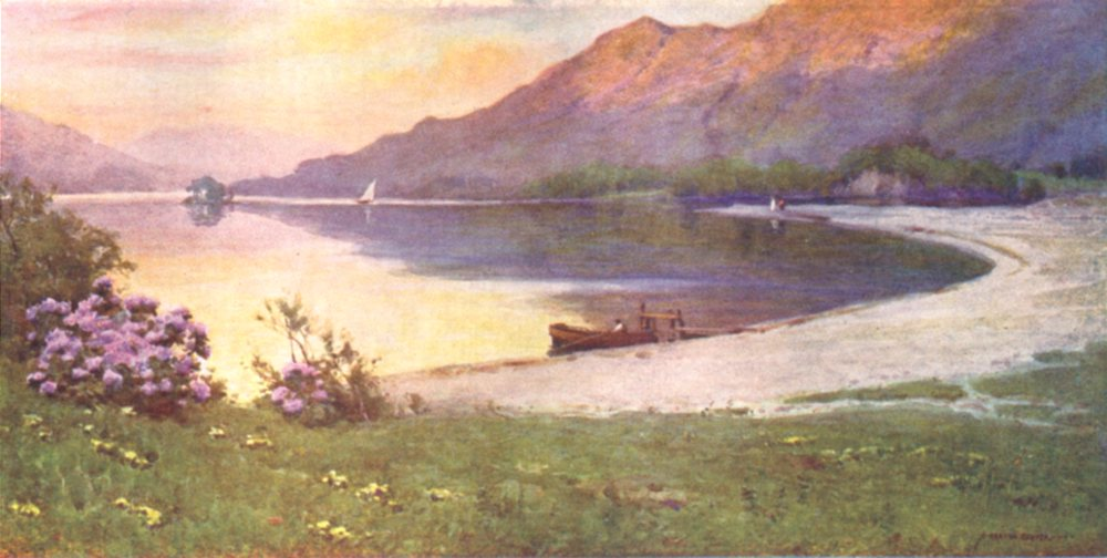 CUMBRIA. Lake district. Ullswater. The Silver Strand afterglow 1908 old print