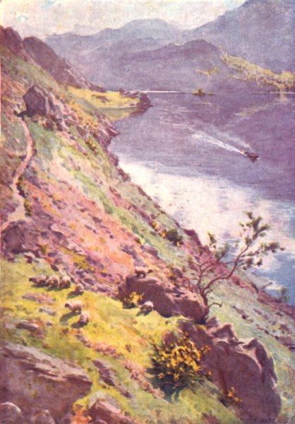 Associate Product CUMBRIA. Lake district. A Mountain Path, Sandwick, Ullswater 1908 old print