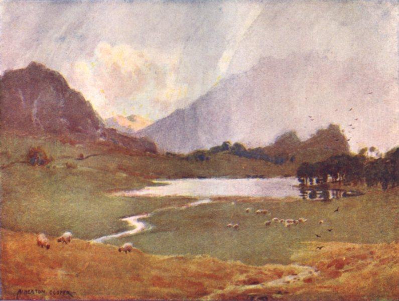 Associate Product CUMBRIA. Lake district. A Sudden shower, Blea tarn 1908 old antique print