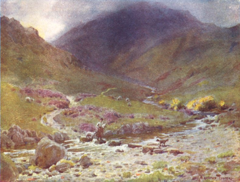 Associate Product CUMBRIA. Lake district. Stepping-stones, far Easedale, Grasmere 1908 old print