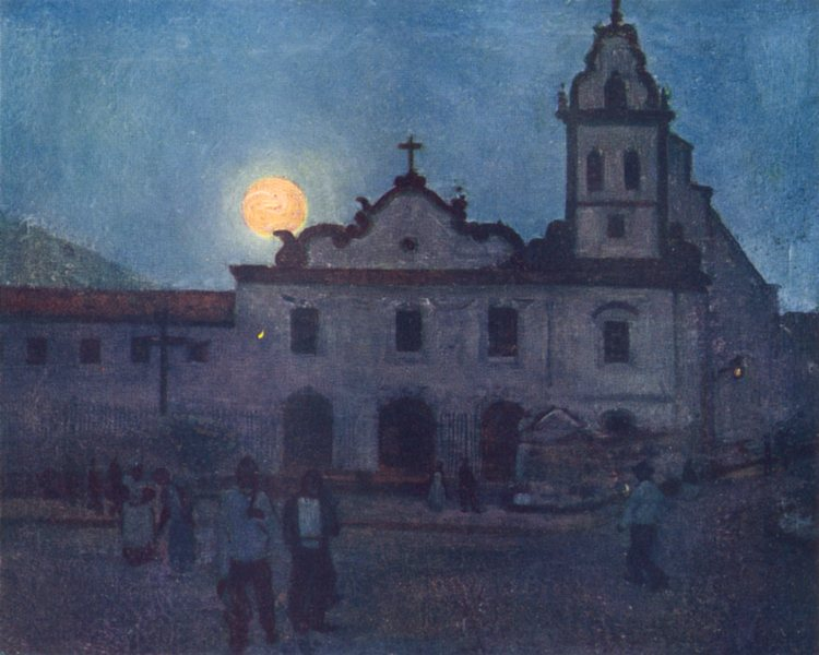 Associate Product BRAZIL. Moonrise over a Seventeenth Century Church in Santos 1908 old print