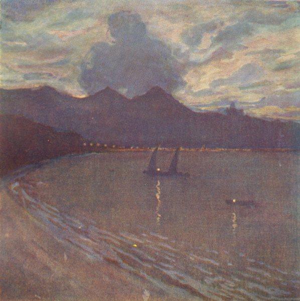 Associate Product BRAZIL. Rio Harbour-Evening 1908 old antique vintage print picture