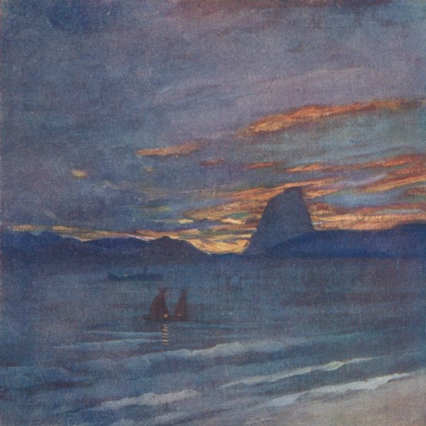BRAZIL. The Sugar Loaf, at Sunset, Rio 1908 old antique vintage print picture