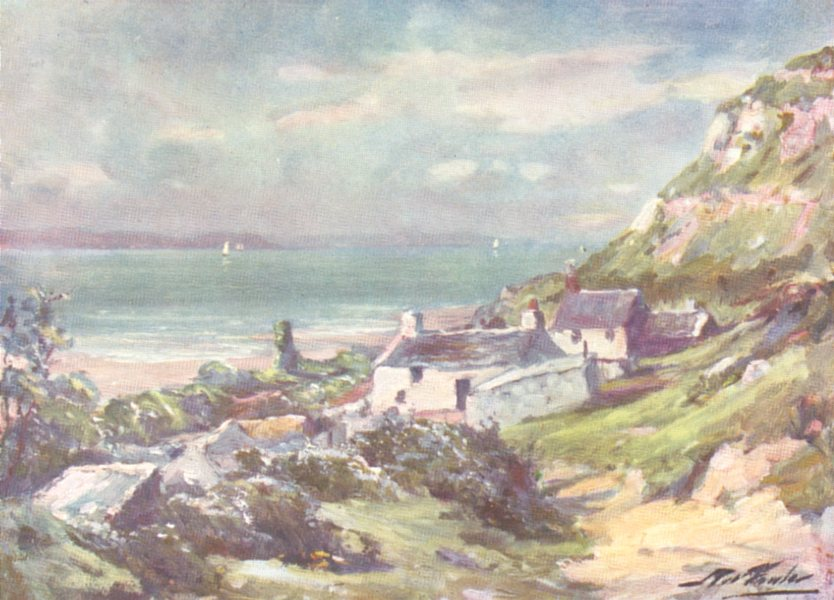 Associate Product WALES. Old Cottage and Ruins of Abbey, Great Orme's Head 1905 print
