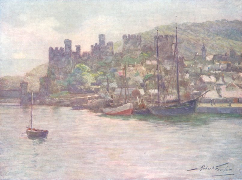 WALES. Conwy Castle and Quay-Noon 1905 old antique vintage print picture