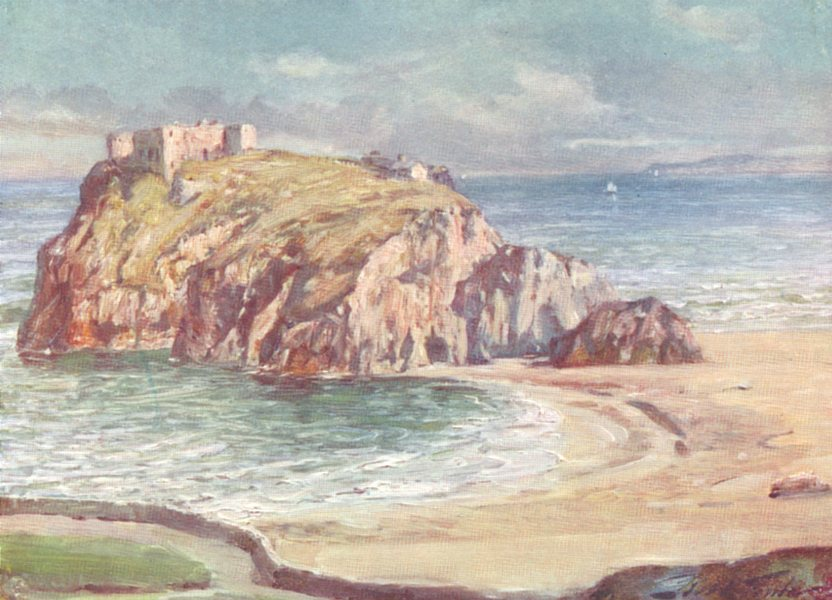 Associate Product WALES. St Catherine's Rock, Tenby 1905 old antique vintage print picture