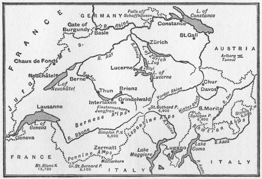 SWITZERLAND. Sketch map of Switzerland 1917 old antique vintage plan chart