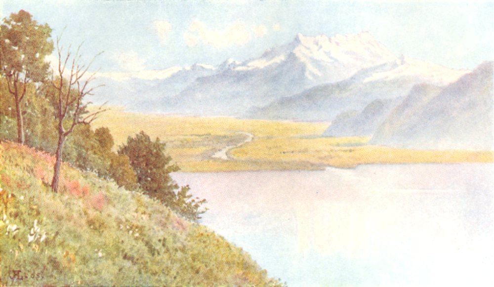 Associate Product SWITZERLAND. Rhone Valley from Mount Pelerin, Eastern End of lake Geneva 1917