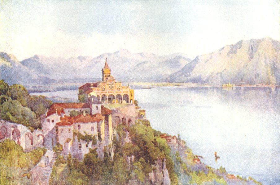 SWITZERLAND. The Italian Border-La Madonna del Sasso, Locarno 1917 old print