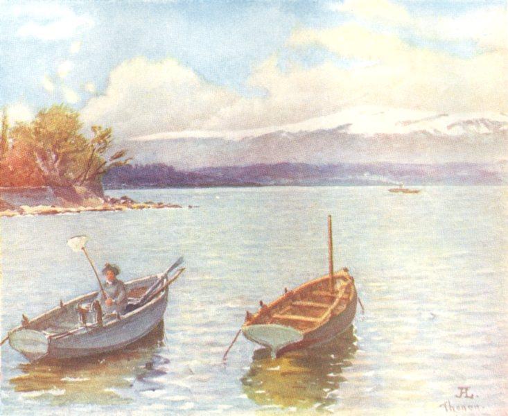 Associate Product SWITZERLAND. A Jura Range south side of lake Geneva 1917 old antique print