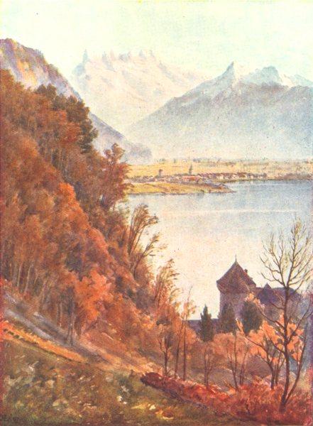 Associate Product SWITZERLAND. The Castle of Chillon 1917 old antique vintage print picture