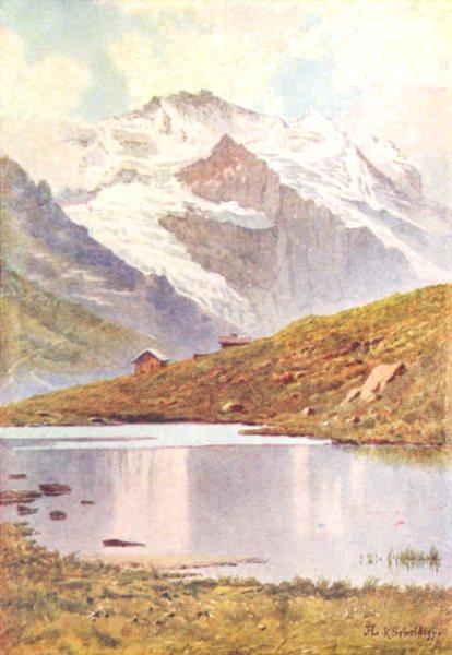 Associate Product SWITZERLAND. The Jungfrau from the Kleiner Scheidegg 1917 old antique print