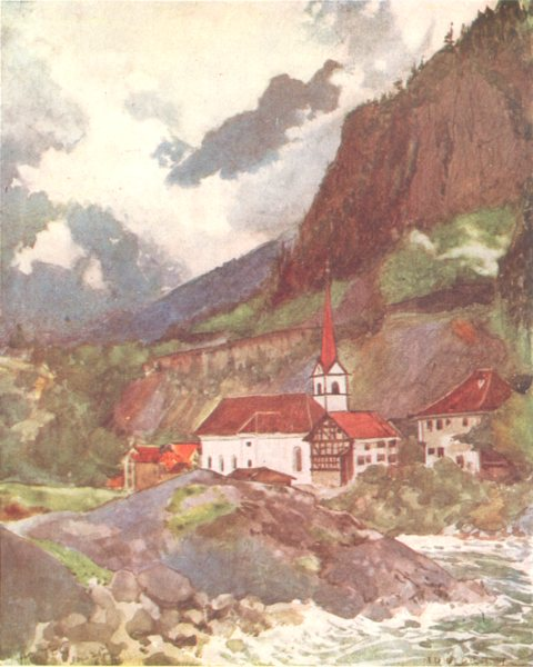 Associate Product SWITZERLAND. A Village on the St Gothard Railway 1917 old antique print