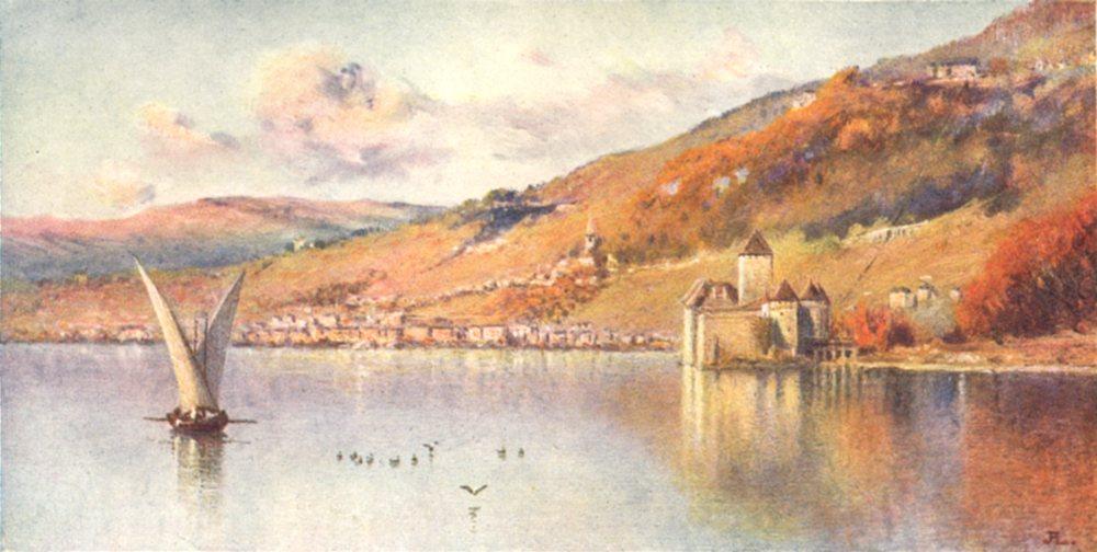 SWITZERLAND. Montreux and the Castle of Chillon, Autumn 1917 old antique print