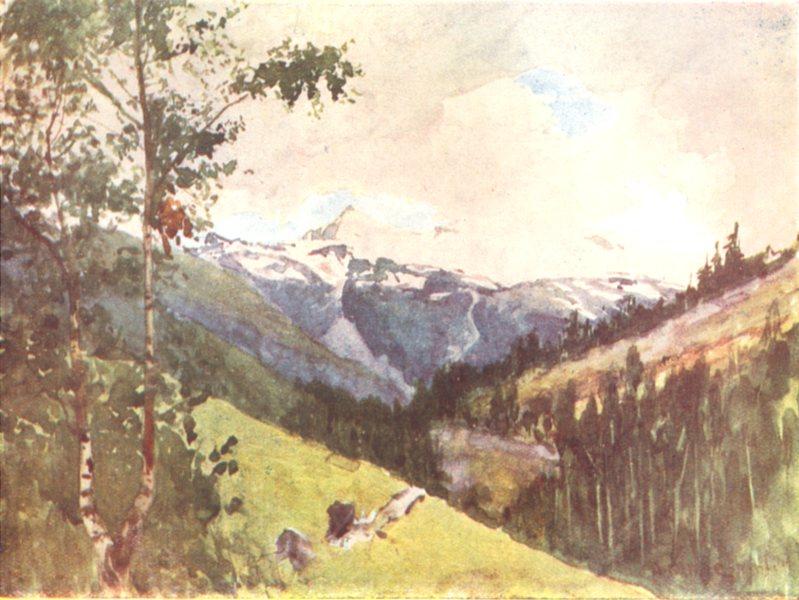 Associate Product SWITZERLAND. Looking up the Valley towards Zermatt from near Randa 1917 print