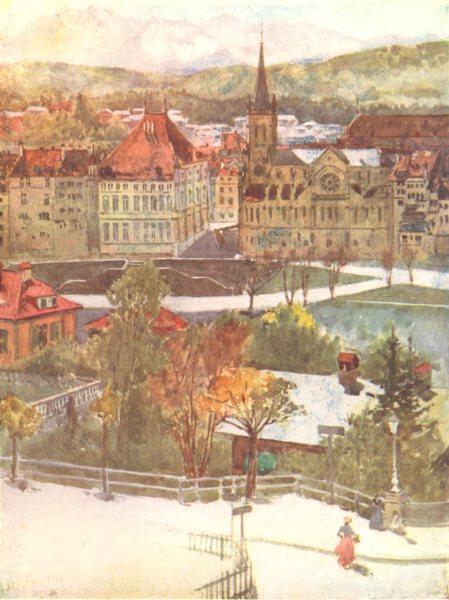 SWITZERLAND. Berne 1917 old antique vintage print picture