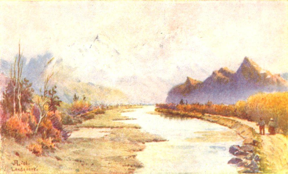 Associate Product SWITZERLAND. The Rhine at Landquart 1917 old antique vintage print picture