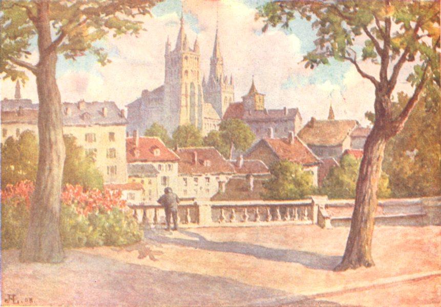 Associate Product SWITZERLAND. Lausanne 1917 old antique vintage print picture