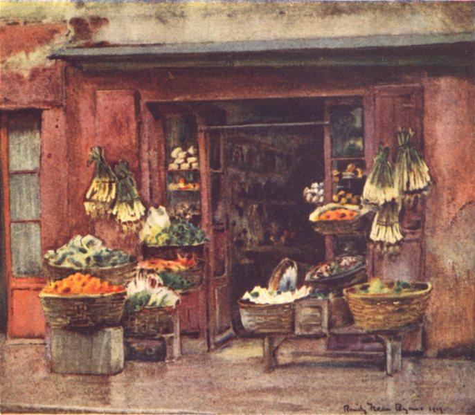 Associate Product PYRÉNÉES-ATLANTIQUES. Basque country. Fruit Shop, Bayonne 1921 old print